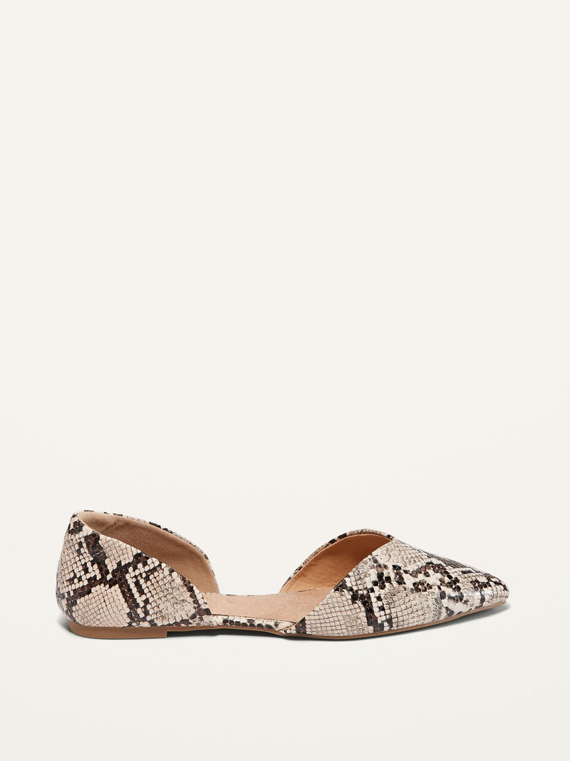 ON Faux-Snakeskin D'Orsay Flats For Women - Snake