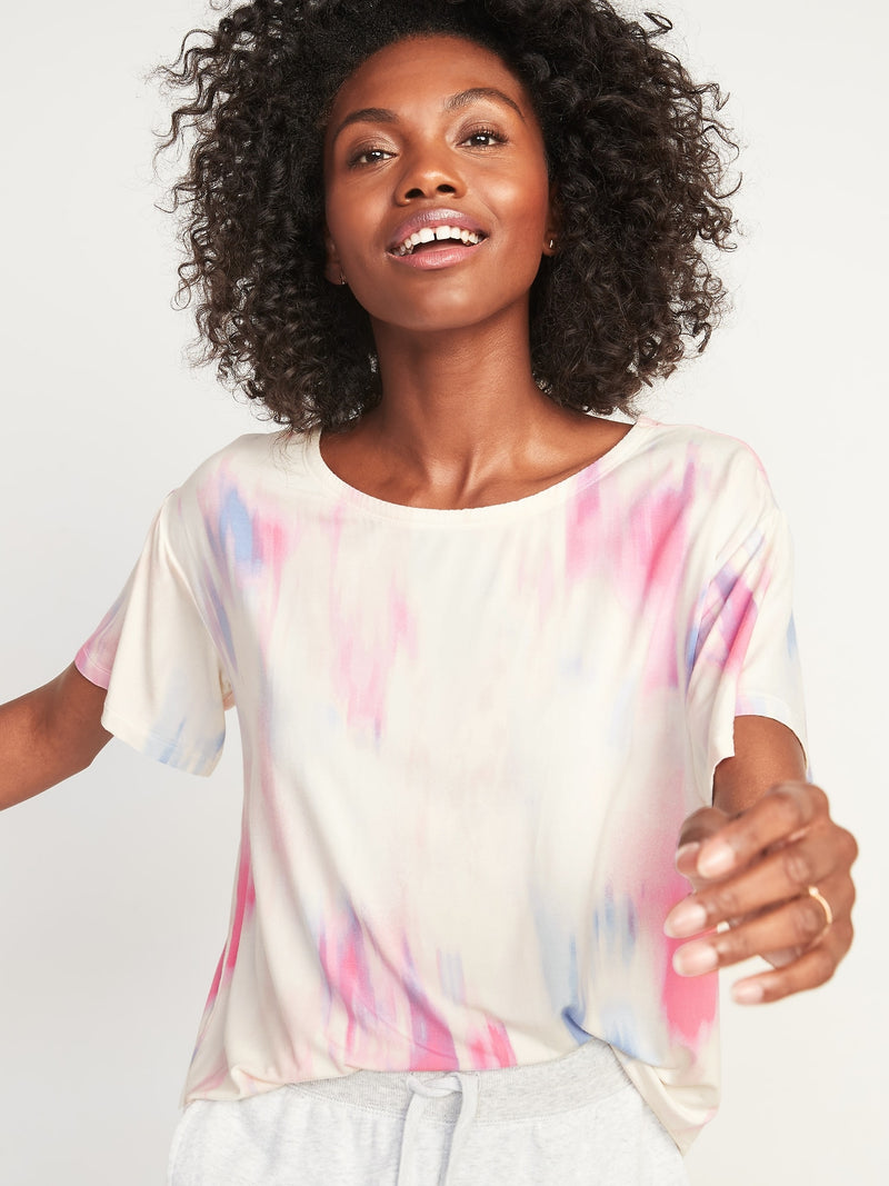 ON Loose Sunday Sleep Ultra-Soft Crop Pajama Top For Women - Family Multi Tie Dye