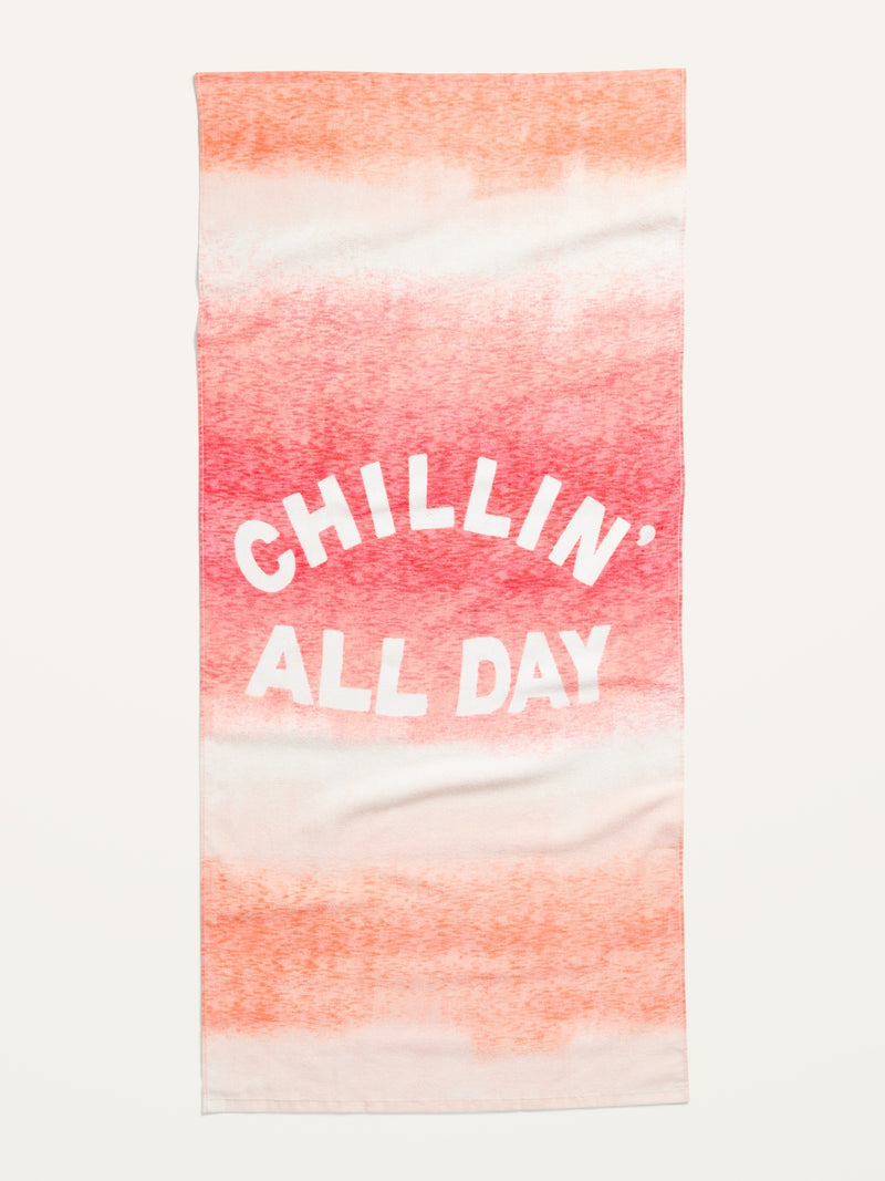 ON Printed Terry-Cloth Beach Towel - Pink Graphic Top