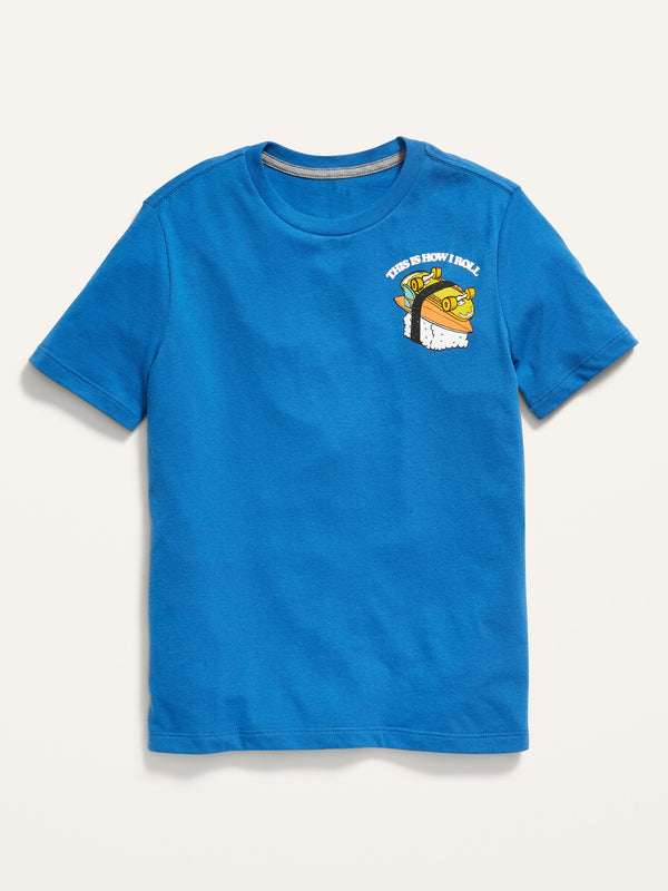 ON Crew-Neck Graphic Tee For Boys - Elemental Blue