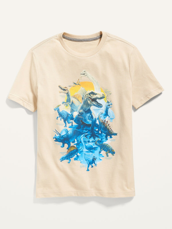 ON Crew-Neck Graphic Tee For Boys - Ecru