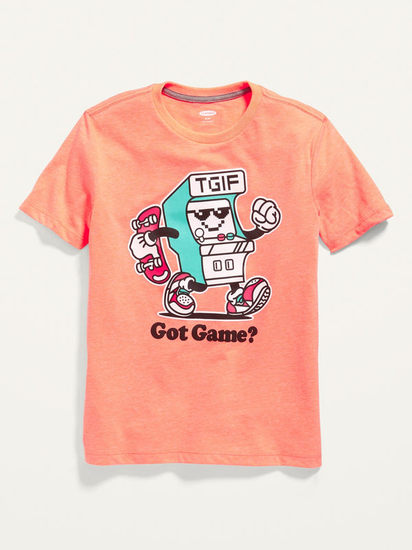 ON Crew-Neck Graphic Tee For Boys - Cora Coral Neon Poly