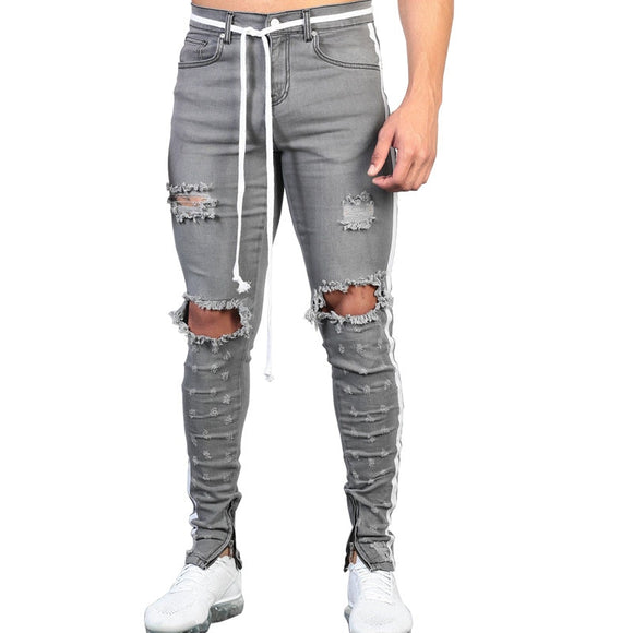 MORUANCLE Men Hi Street Destroyed Jeans Fashion Streetwear Ripped Denim Pants With Ankle Zipper Distressed Jean Trousers Holes