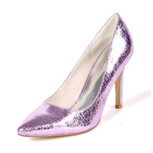 Sparking CRACKLED pattern bright color lady pumps pointed toe woman high heels wedding party dress shoes Metallic lilac silver