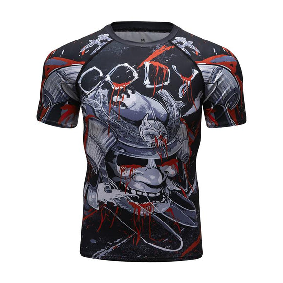 Compressed shirt shark 3D printing short-sleeved T-shirt fitness tight-fitting men BJJ bodybuilding casual clothing brand clothi
