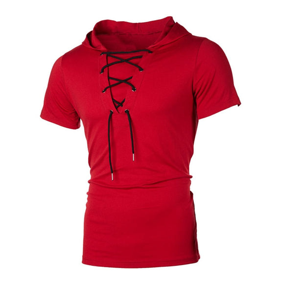 2020 summer slim fit hooded short-sleeved T-shirt lace-up T-shirt men