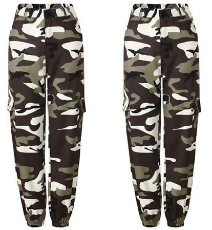 SIL0057 Womens Camo Cargo m002 Trousers Casual Pants Military Army Combat Camouflage Jeans Jeans High Waist Trouser