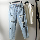 2020 new women casual loose jeans boyfriend para mulheres Harlan denim pants hole plus size high waist denim jeans ankle length