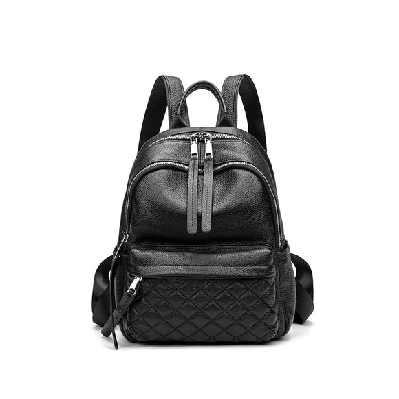 Fashion design women plaid cowhide outdoor casual backpack school bags