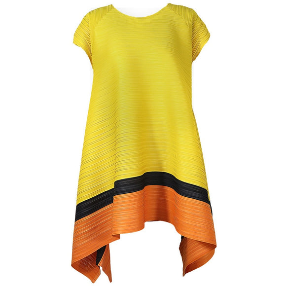 LANMREM color block patchwork short sleeve O-neck pleated t-shirt famale Women 2020 New High quality summer Irregular tops AP462