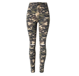 2017 New Military Camouflage ripped Jeans women Elastic high waist pencil pants Fashion Skinny Trousers women Jeans Plus Size