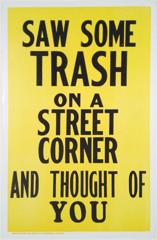"George Horner, ""SAW SOME TRASH ON THE STREET CORNER"" SOLD"