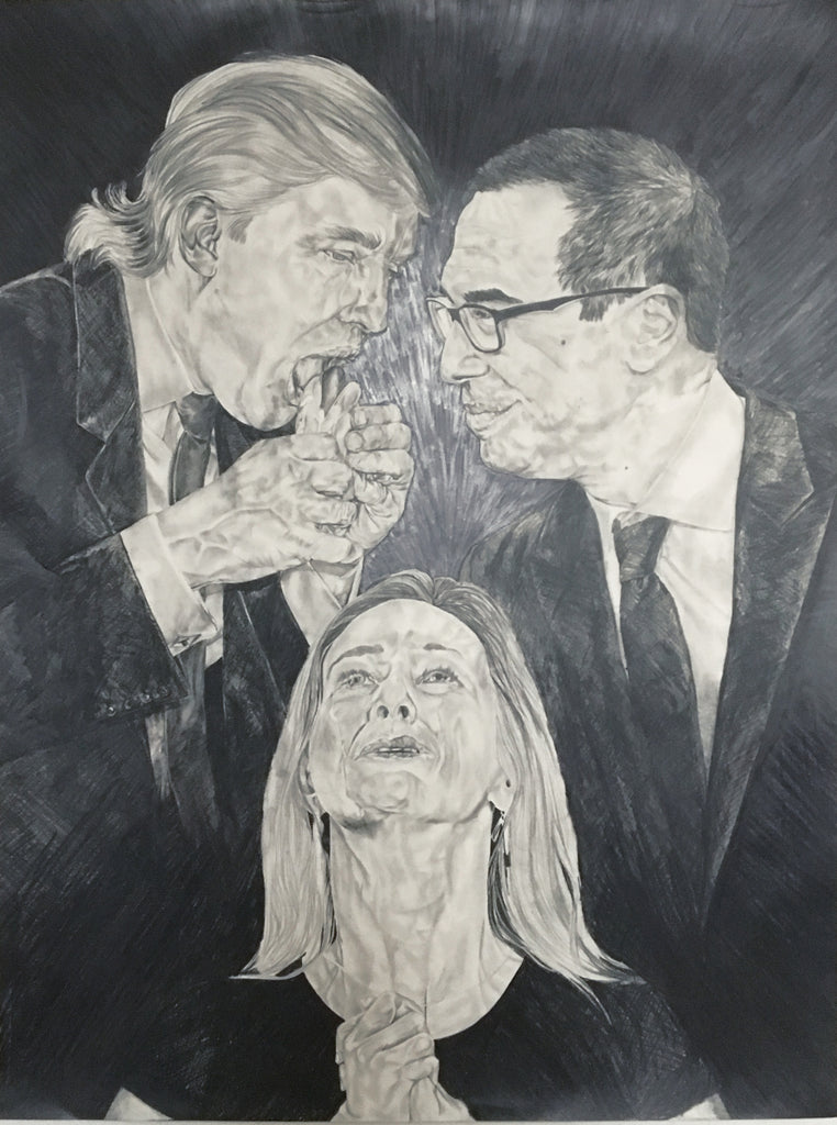 "Oasa DuVerney, ""Holy Trinity (Greed, Complicity, White Tears) (DJT, Steve Mnuchin, and Carryn Owens)"""