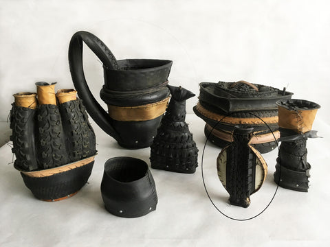 "Judy Richardson, ""Tire Jars - Black and White Golfer"""