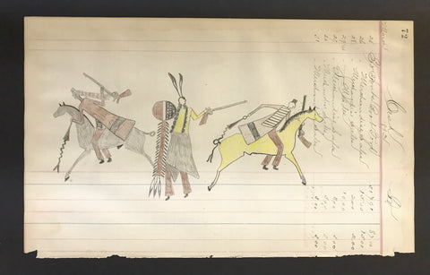 "Lakota Sioux, ""Ledger Drawing.( A Lakota Warrior with Two Cheyenne Warriors on Horseback)"""