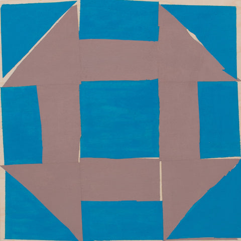 "Brigitte Engler, ""Objet mathématique #1 (blue and light brown/four corners)"""