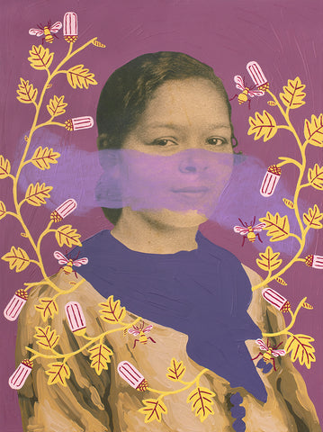 "Daisy Patton, ""Untitled (Purple Woman with Yellow Vine and Bees)"""