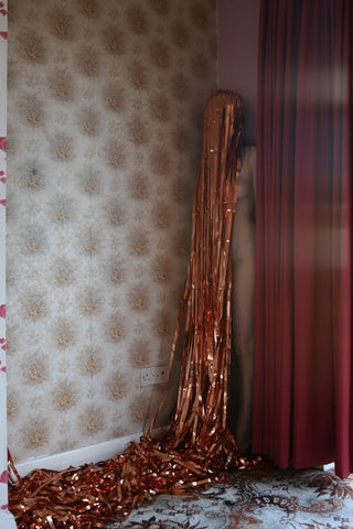 "Polly Penrose, ""Self Portrait with Copper Curtain, Willow Road"""
