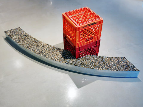 "Shane Darwent, ""Floorwork (Gentle Curve with Milk Crates)"""