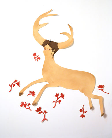 "Hiba Schahbaz, ""Self Portrait as Deer with Flowers after Frida"""
