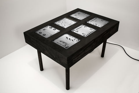 "Til Will + Debbi Kenote + Angela Heisch + Drew Miller, ""Light Box Coffee Table For Notes II (Ebony)"""