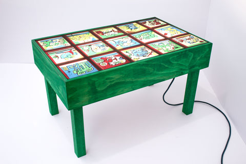 "Til Will +Debbi Kenote + Drew Miller, ""Light Box Coffee Table For Notes I (Green)"""