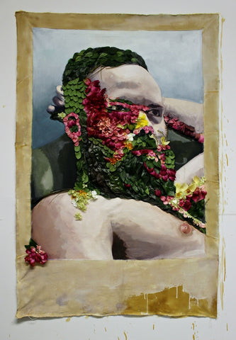 "Evan Paul English, ""Self-Portrait in Oil and Flower Petals"""