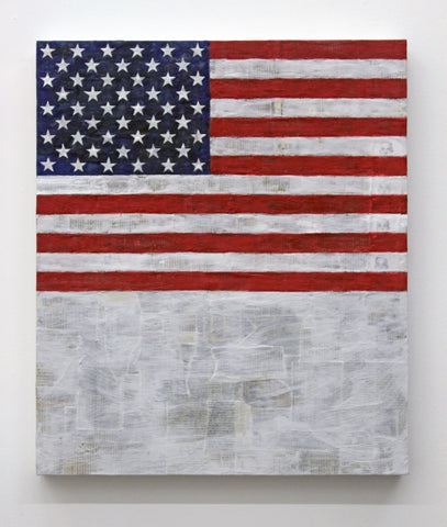 "Eric Doeringer, ""Flag Above White With Collage"""