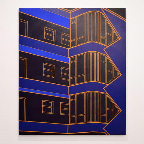"Heath West, ""Laubenganghaus (Dark Blue)"""