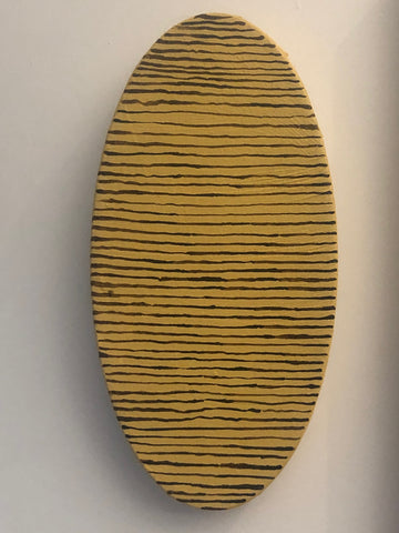 "Kirstin Lamb, ""Stripey Yellow Oval"" SOLD"