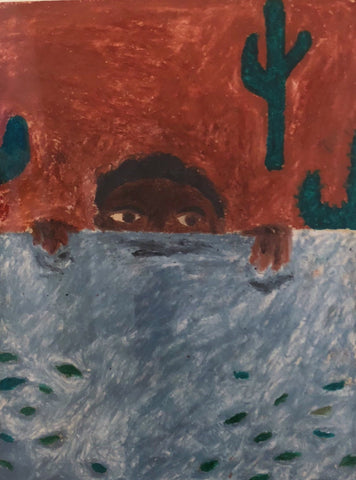 "Marcus Leslie Singleton, ""Boy Peering Over Wall"" SOLD"