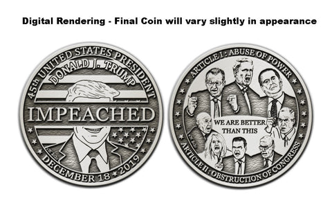 "Valery Jung Estabrook, ""Donald J. Trump (IMPEACHED), PEWTER EDITION"""