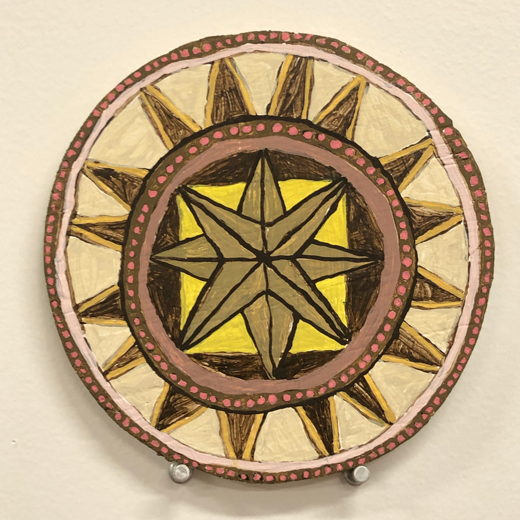 "Kirstin Lamb, ""Hex Sign (Yellow Pink Star)"""