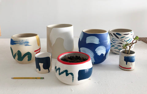 "Sara Bright, ""ceramic planters"""