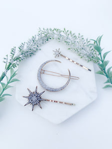 Magical moon and stars set.