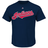 Cleveland Indians MLB Majestic Wordmark Men T Shirt Blue