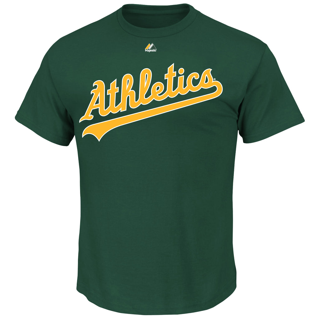 Oakland Athletics Majestic MLB Wordmark Men T Shirt Green
