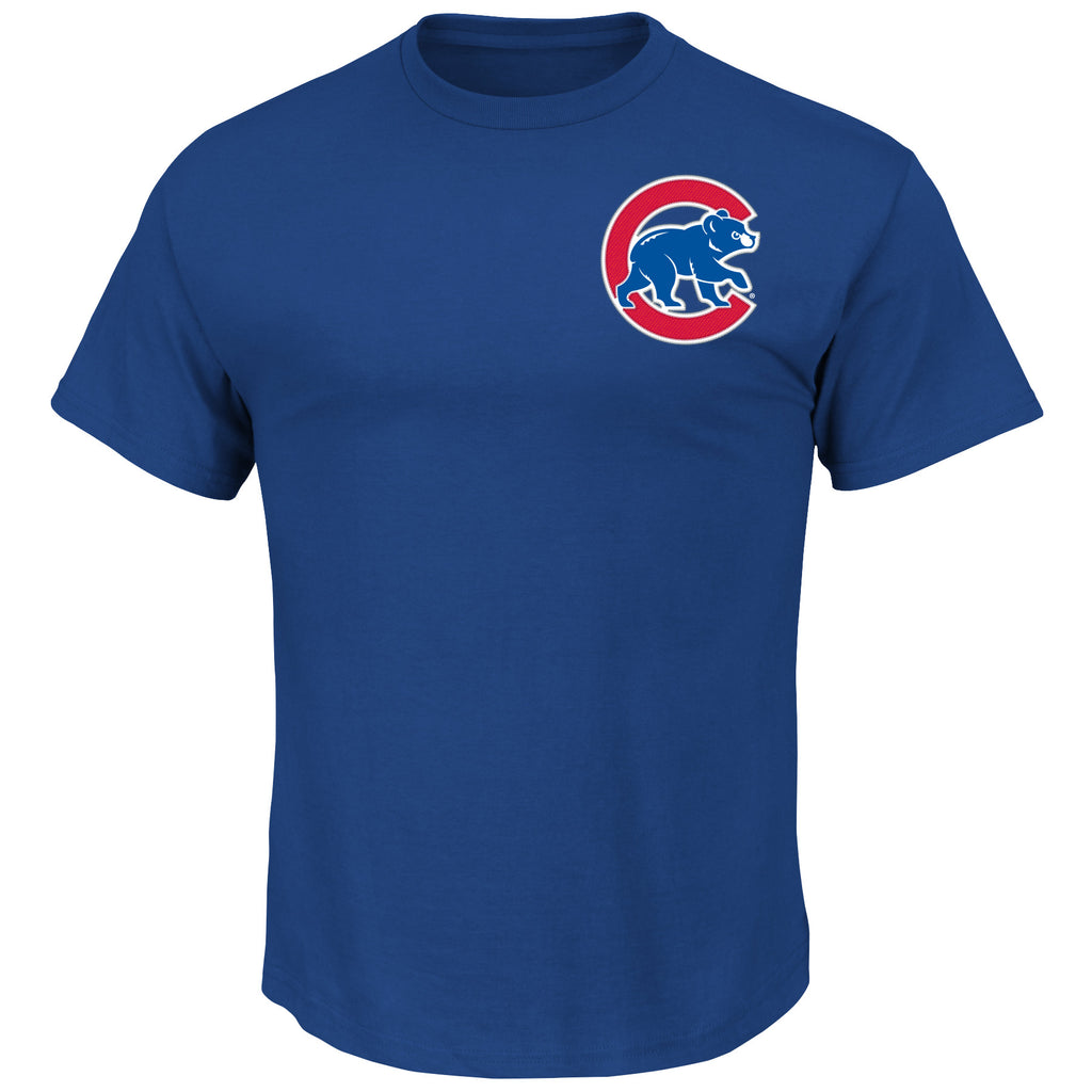 Chicago Cubs MLB Majestic MLB Wordmark Men T Shirt Blue
