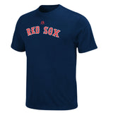 Boston Red Sox MLB Majestic Wordmark Men T Shirt Blue