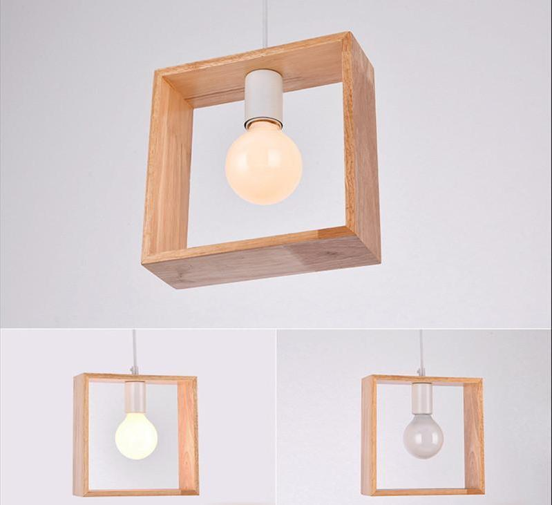 Geometric Hanging Wooden Lights