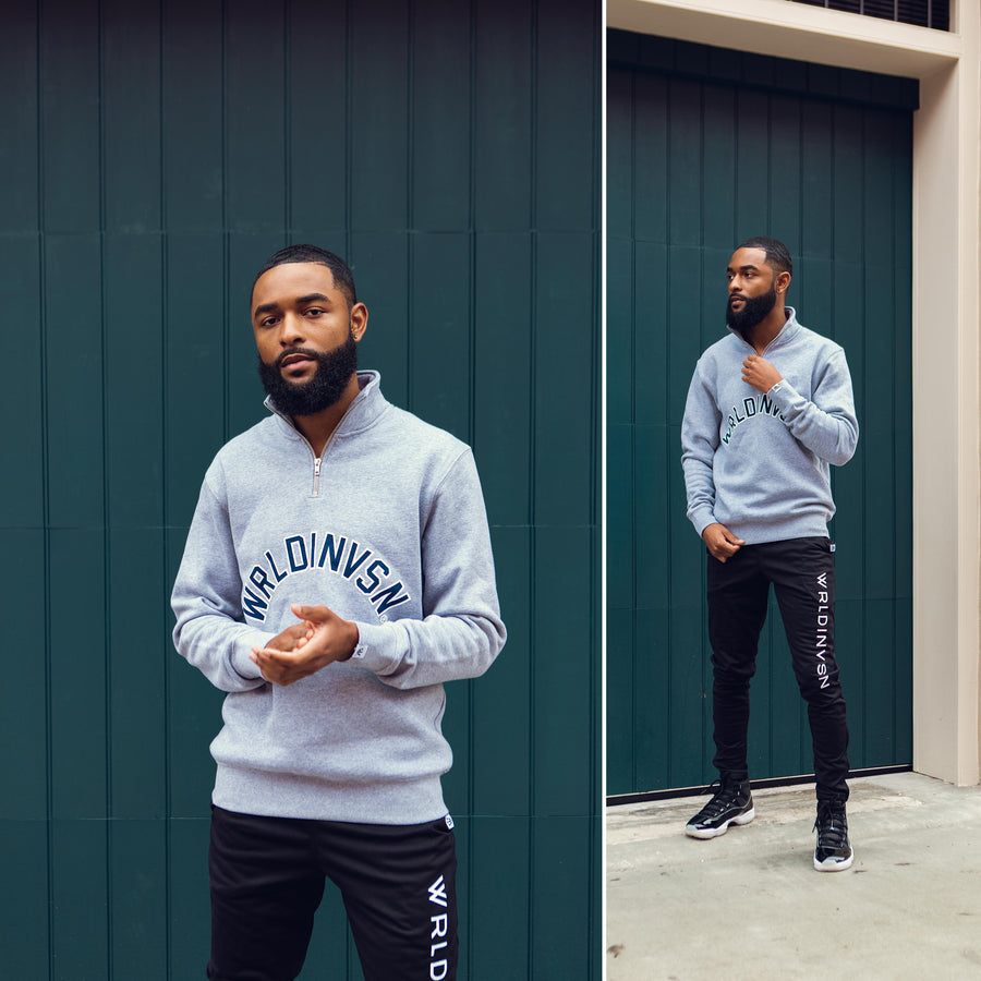 Grey/Navy Half Zip Sweater