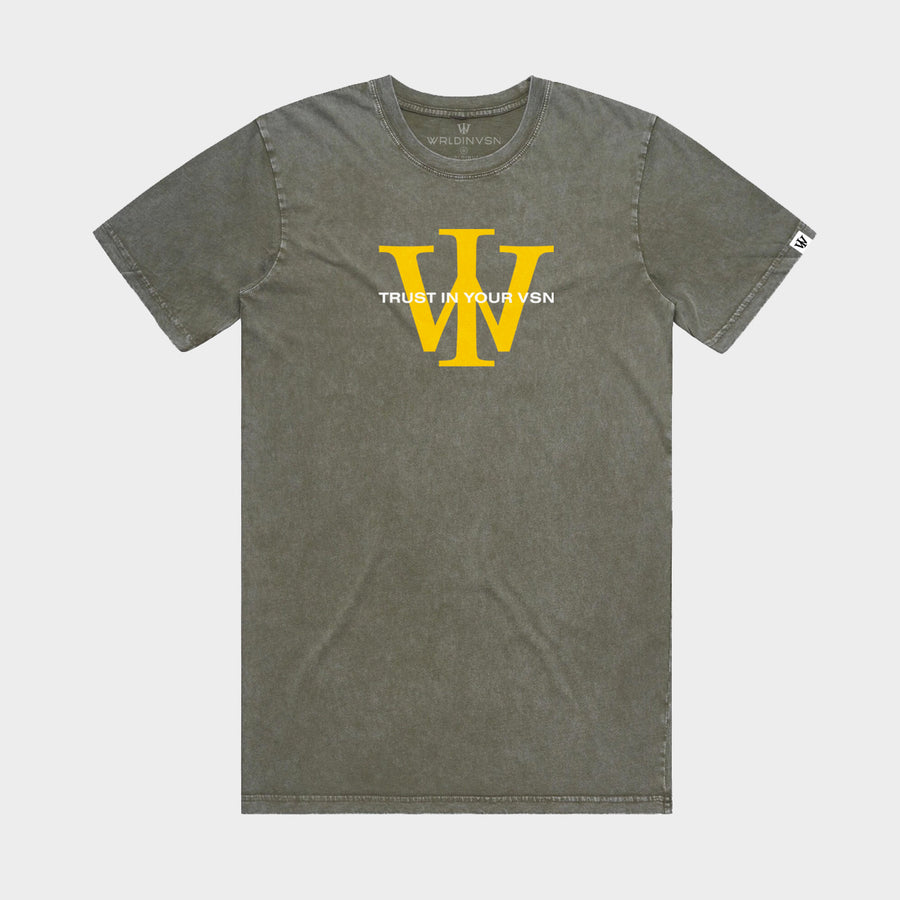 Green/Yellow Stone Wash Tee