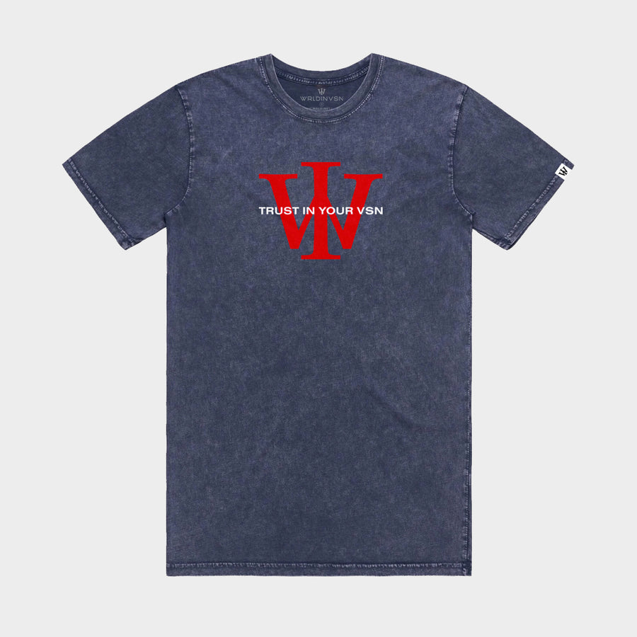 Navy/Red Stone Wash Tee