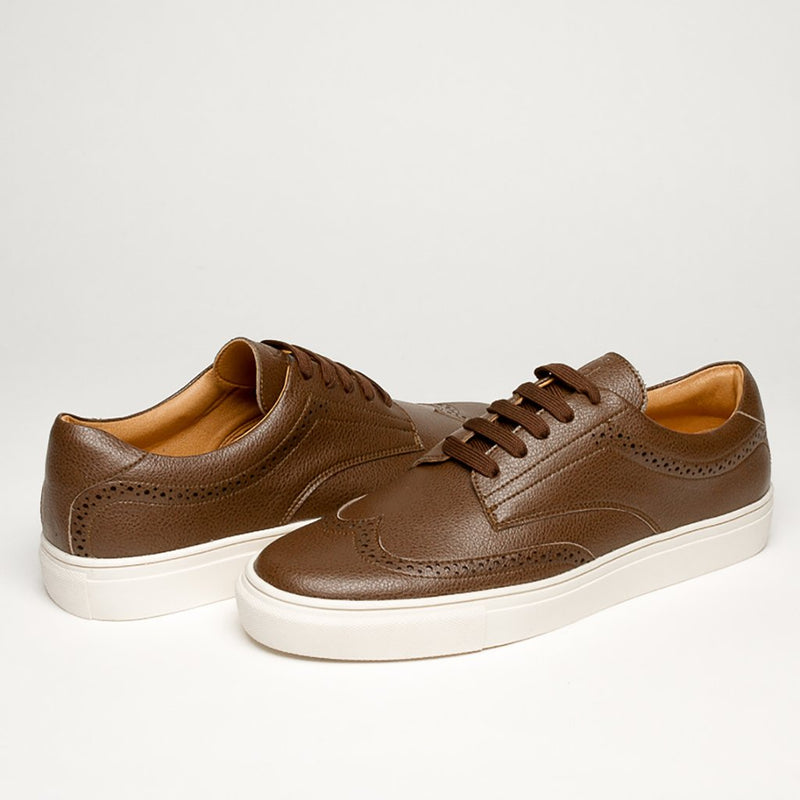 LUXURY BROWN VEGAN KRYPTON SNEAKERS - Clickstore