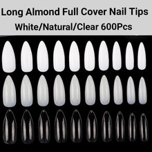 Load image into Gallery viewer, Long Almond Full Cover Nails 600 pieces