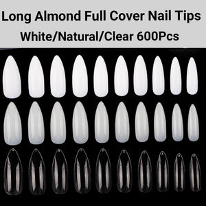 Long Almond Full Cover Nails 600 pieces