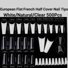 Load image into Gallery viewer, European Style Flat French Half cover Nail tips 500 pieces in a bag