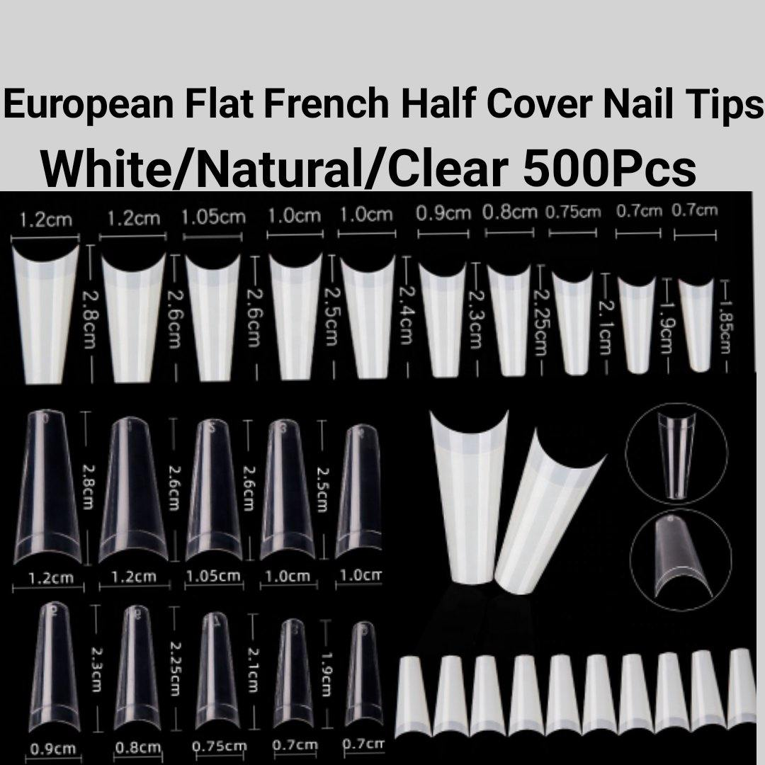 European Style Flat French Half cover Nail tips 500 pieces in a bag