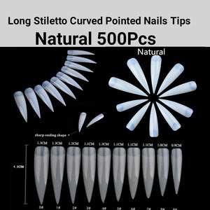 Extra Long Stiletto Curved Pointed French nails-jargod