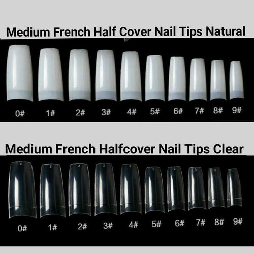 Medium French Half Cover Nail Tips 500 pieces in a bag